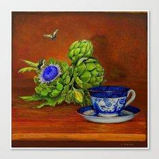 Teacup with Artichokes Canvas Print