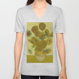 Vincent van Gogh - Still life: Vase with Fifteen Sunflowers (1888) Unisex V-Neck