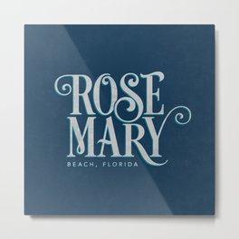 Rosemary Beach, FL Typography (Blue) Metal Print