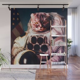 Funny Cat Astronaut #2 Wall Mural