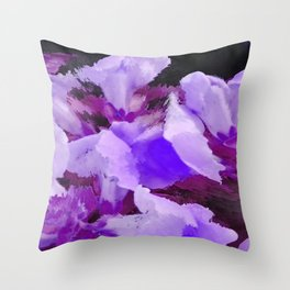 Snapdragons In Shades Of Purple Abstract Flowers Throw Pillow