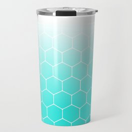 White Turquoise Hexagons Travel Mug