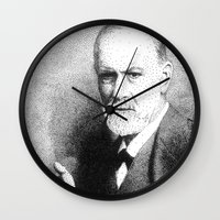 freud Wall Clocks featuring Sigmund Freud (Pen Pointillism) by Daniel Point
