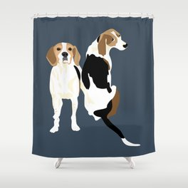 Gracie and Greta tree walker coonhounds Shower Curtain