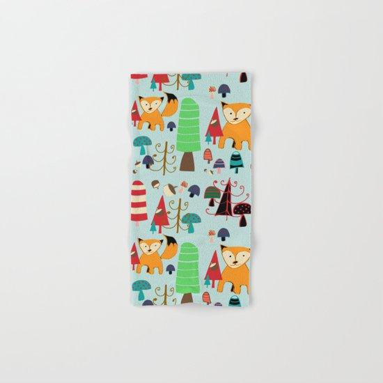 Woodland fox blue Hand & Bath Towel