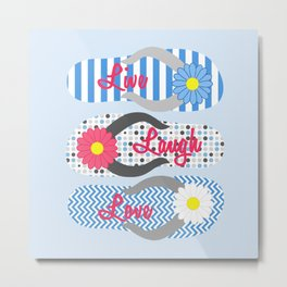 Live - Laugh - Love in Blue & Red Metal Print