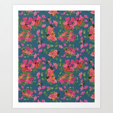 April blooms(Bougainvillea_blue) Art Print