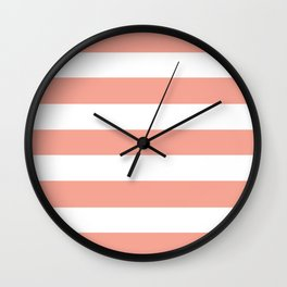 Coral Reef (Valspar Paint Color) - solid color - white stripes pattern Wall Clock