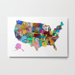 USA Map Metal Print