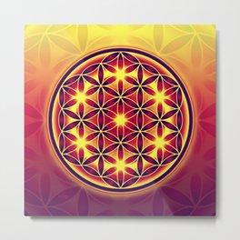 FLOWER OF LIFE batik style yellow red Metal Print