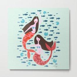 Koi Mermaids on Mint Metal Print