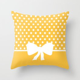 Dots dip-dye pattern with cute bow in yellow Throw Pillow
