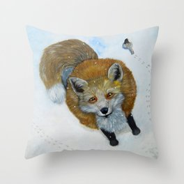 Fox and Chickadee Throw Pillow