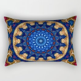 Royal Blue Gold Mandala Design Rectangular Pillow
