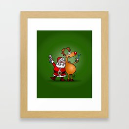 Santa Claus and his Reindeer Framed Art Print