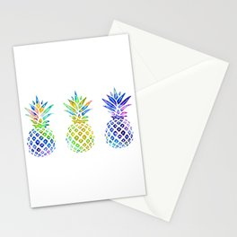 3 Rainbow Pineapples - Multicolored Stationery Cards
