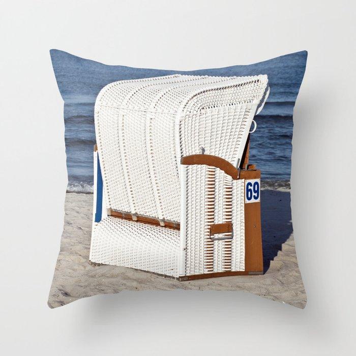 BEACH CHAIR No.69 - Baltic Sea - Isle Ruegen Throw Pillow