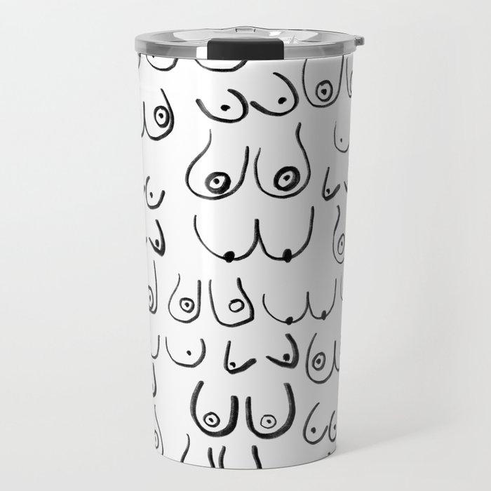 Boobs Pattern - black and white line drawing, life drawing, feminine art Travel Mug