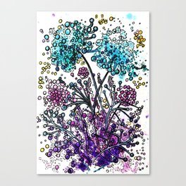 Purple floral watercolor abstraction Canvas Print