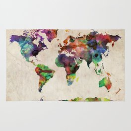 World Map Urban Watercolor Rug