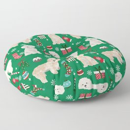 Cockapoo dog breed christmas holiday pet portrait pattern gifts Floor Pillow