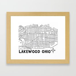 Lakewood Ohio Map Framed Art Print