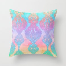 The Ups and Downs of Rainbow Doodles Throw Pillow