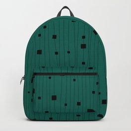 Squares and Vertical Stripes - Green and Black - Hanging Backpack