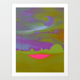 """Pool of Lunar Wisdom"" (Fuchsia/Yellow) Digital Painting // Fine Art Print Art Print"