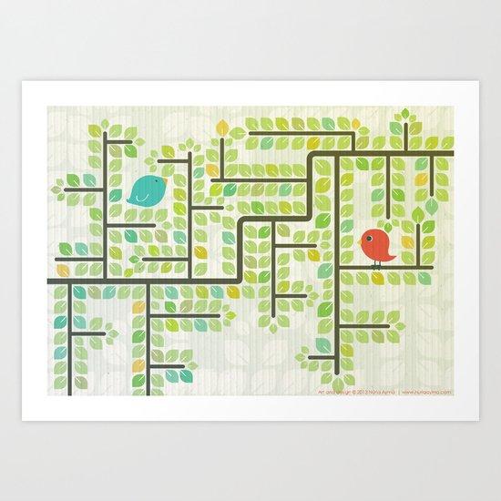 Green labyrinth Art Print