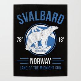 Svalbard Arctic Polar Bear - Midnight Sun in Longyearbyen Norway Poster