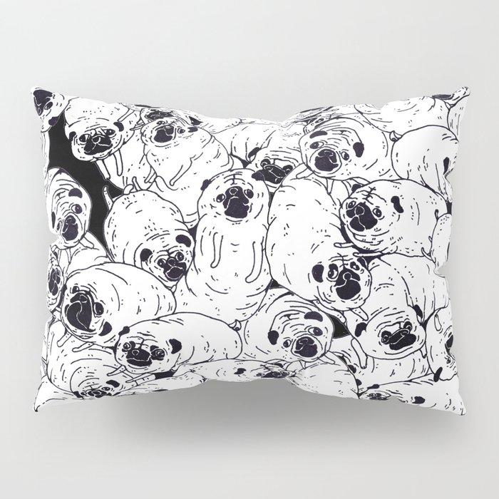 Black & White pugs Pillow Sham