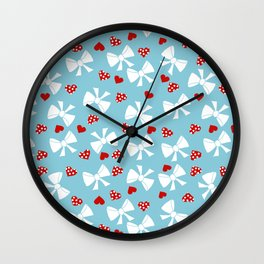 Lace gift wrap blue Wall Clock