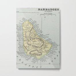 Vintage Map of Barbados (1901) Metal Print