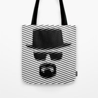 walter white Tote Bags featuring Walter White by Beastie Toyz