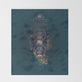 Dark Moon Phase Nebula Totem Throw Blanket