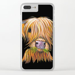 Scottish Highland Cow ' LITTLE VIKING ' by Shirley MacArthur Clear iPhone Case