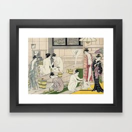 Interior of a Bathhouse by Torii Kiyonaga - Japanese Woodblock Framed Art Print