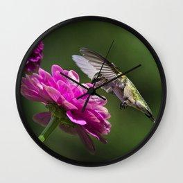 Hummingbirds Flower Wall Clock