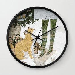 Christmas tree decorating Wall Clock