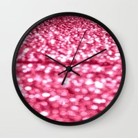 glitter Wall Clocks featuring Bubblegum Pink Glitter Sparkles by WhimsyRomance&Fun
