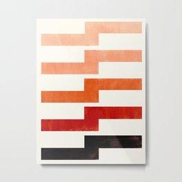 Burnt Sienna, Watercolor, Gouache, Painting, Geometric, Zig zag, Lightning Bolt, Pattern Metal Print