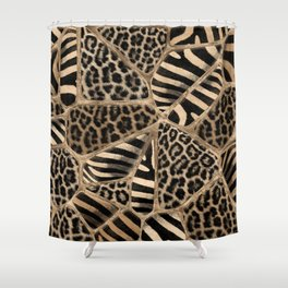 Animal Print - Leopard and Zebra - pastel gold Shower Curtain