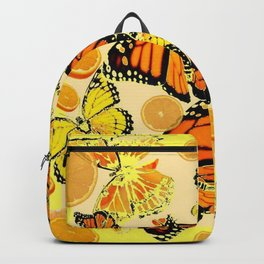 YELLOW MONARCH BUTTERFLY  & ORANGES MARMALADE Backpack