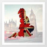 england Art Prints featuring ENGLAND by mark ashkenazi