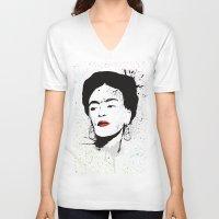 frida V-neck T-shirts featuring Frida by Cynthia Alvarez
