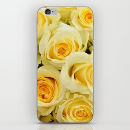soft yellow roses close up iPhone Skin