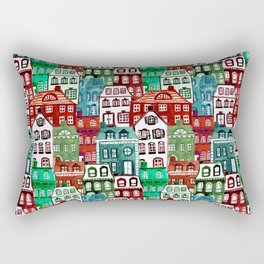 Christmas Village in Watercolor Red + Green Rectangular Pillow