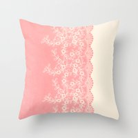 aelwen Throw Pillows featuring Lace #CoralPink by Armine Nersisian