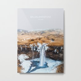 Seljalandsfoss Waterfall, Iceland Travel Artwork Metal Print